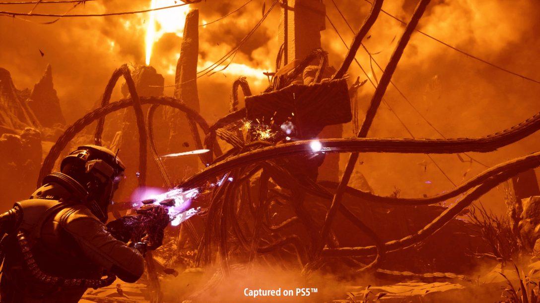 Returnal의 전투에 대해 자세히 다룹니다: 업그레이드 가능한 무기, 외계 장치, 그리고 모험적인 강화
